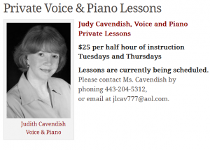 Private Voice & Piano Lessons