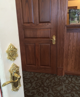 <h5>Box Office Entry</h5><p>The Box Office front entrance door and the office inner door - note the matching Victorian-look handles.</p>