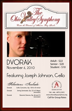 Poster showing Joseph Johnson and  prices for OVS Dvorak