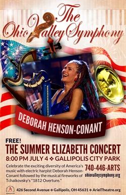 Deborah Enson Conant with her harp on a patriotic background