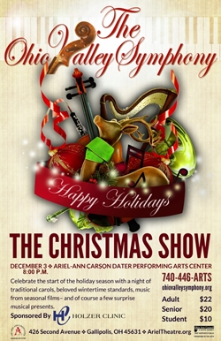 Poster showing instruments and Christmas decorations