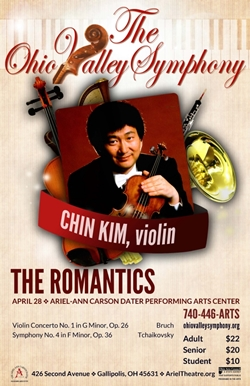 Poster featuring Chin Kim holding his violin