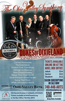 Poster featuring the 7 members of the Dukes of Dixieland