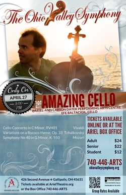 Poster with Efe Baltacigil holding his cello