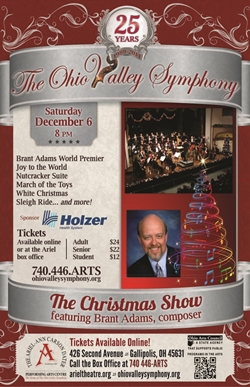 Poster showing Brent Adams and The Ohio Valley Symphony on stage