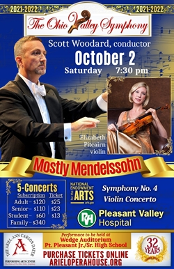 Poster featuring Maestro Scott Woodard and violinist Elizabeth Pitcairn with the Red Violin