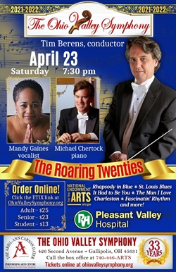 Poster with conductor Tim Berens, vocalist Mandy Gaines, and pianist Michael Chertock